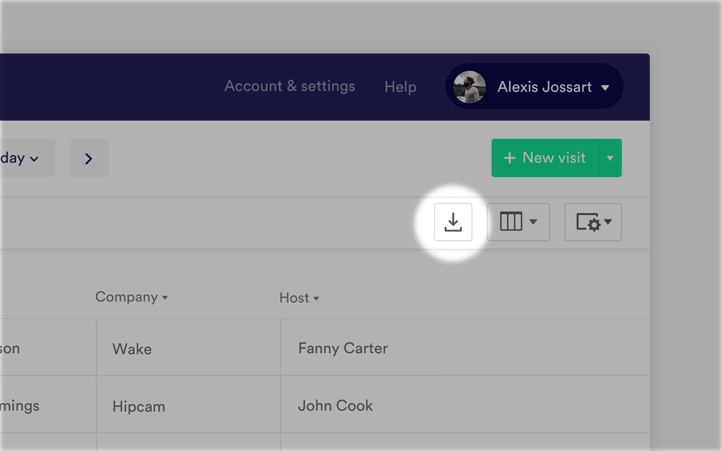 Export button in the dashboard
