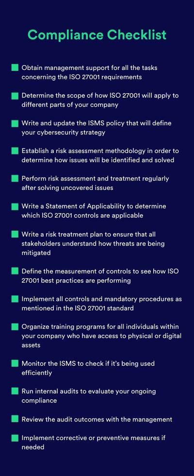 Compliance Checklist - ISO 27001
