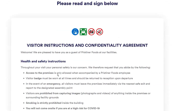 visitor health and safety agreement COVID-19