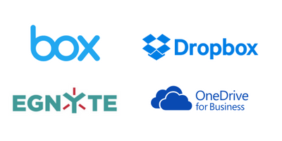 Box, Dropbox, Egnyte and OneDrive for Business are all integrated with Proxyclick