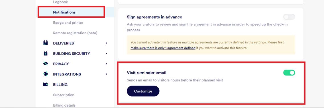 Visit reminder email