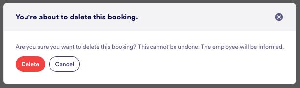 delete booking