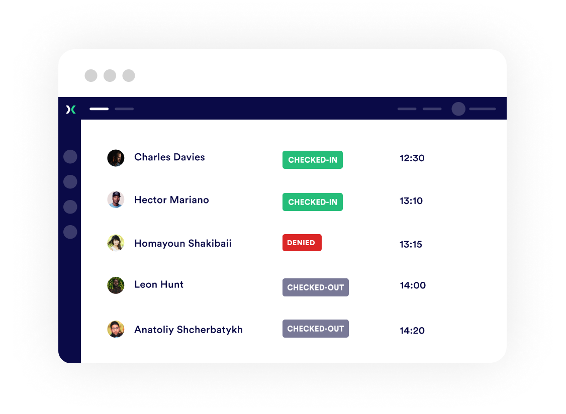 Proxyclick employees dashboard