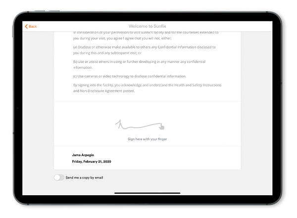 Proxyclick digital document sign in advance