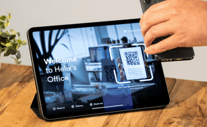 Tablet running Proxyclick touchless check-in